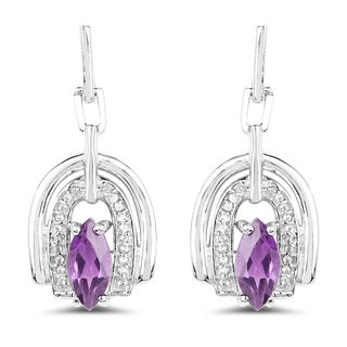 Malaika Sterling Silver 2 1/3ct Amethyst and White Topaz Earrings