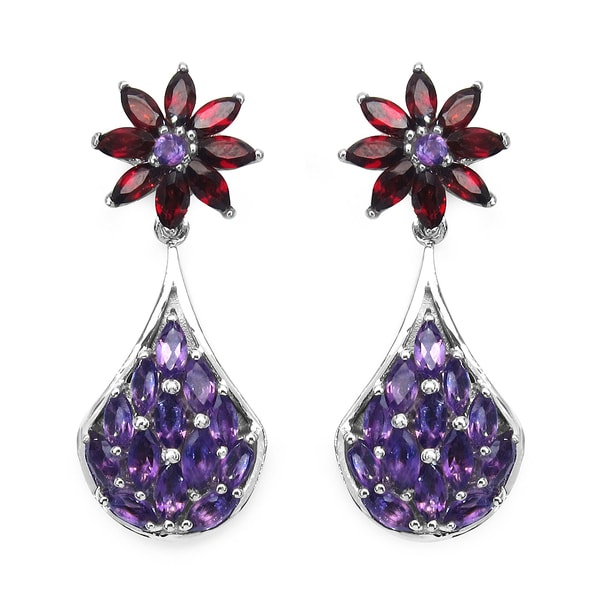 Olivia Leone Sterling Silver 4 2/3ct Amethyst and Garnet Earrings