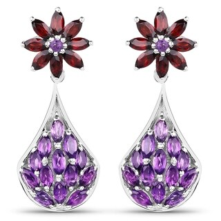 Olivia Leone Sterling Silver 4 2/3ct Amethyst and Garnet Earrings