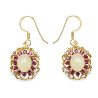Malaika 14k Yellow Goldplated Sterling Silver 5 1/4ct Opal Rhodolite and White Topaz Earrings