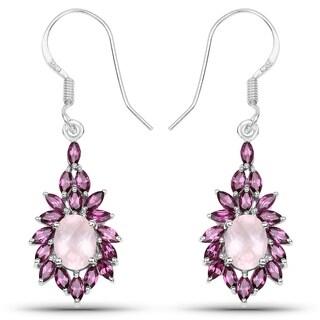 Malaika Sterling Silver 5 1/3ct Rose Quartz and Rhodolite Earrings