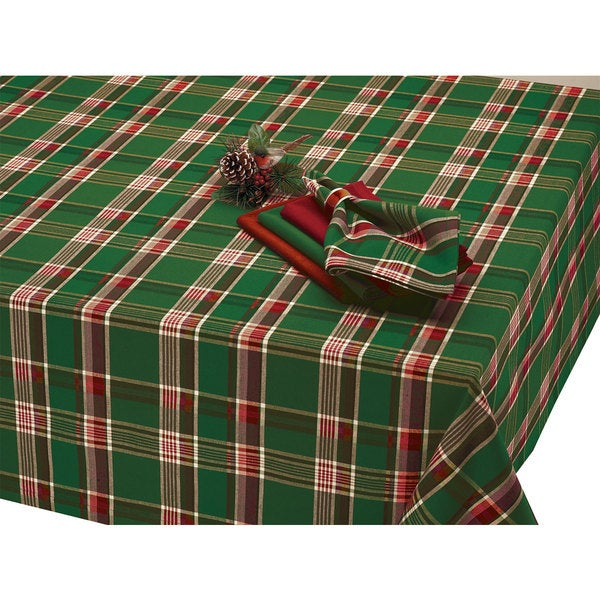 Dark Green Plaid Tablecloth