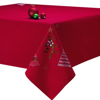 Holiday Trees Embroidered Tablecloth
