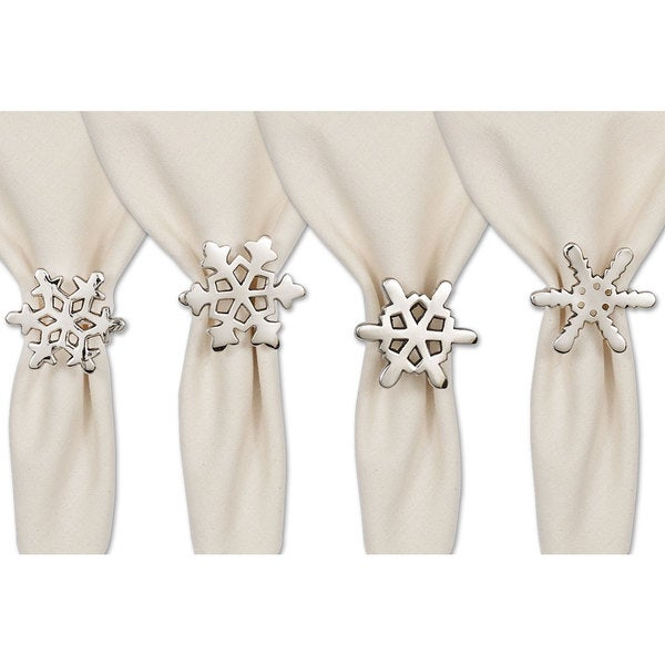 Silver Snowflake Napkin Rings (Set of 4)