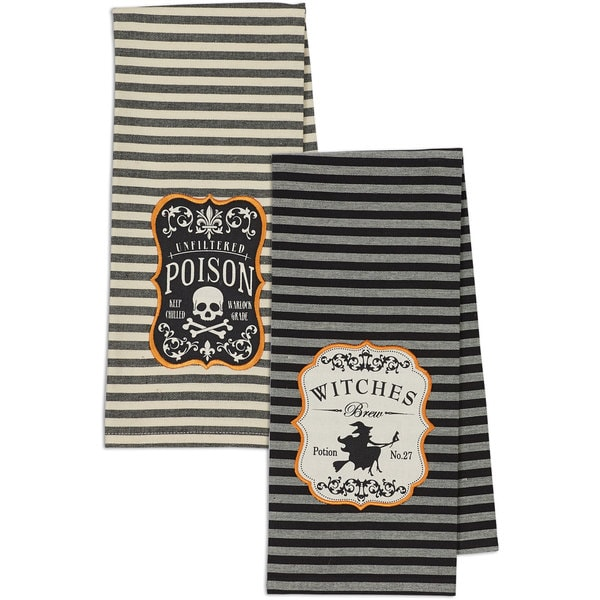 Witches Brew and Poison Embroidered Dishtowel (Set of 2)