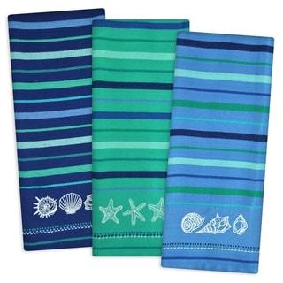 Blue Sea Embroidered Dishtowel (Set of 3)