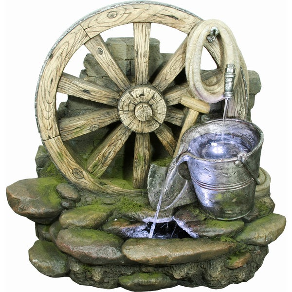 Wagon Wheel with Bucket Fountain