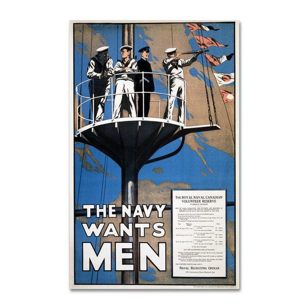 'Recruitment Poster for the Royal Canadian Navy' Canvas Art
