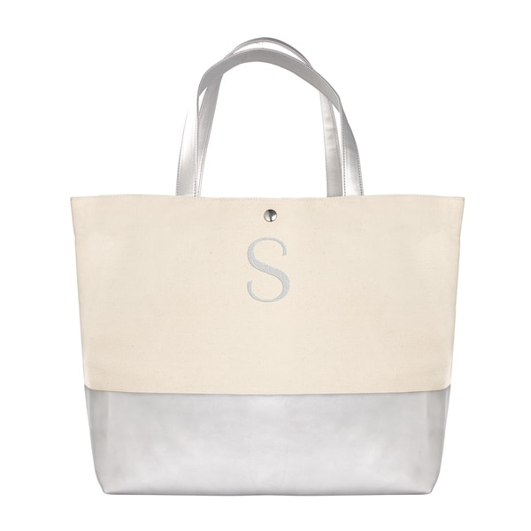 Personalized Silver Metallic Color Dipped Tote Bag