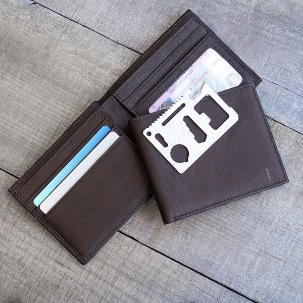 Men's Personalized Brown Bi-Fold Wallet with Multi-function Tool