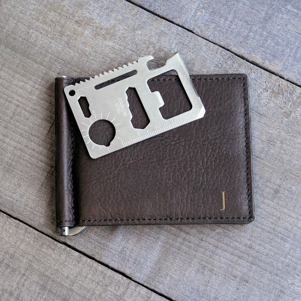 Personalized Brown Leather Wallet with Money Clip and Multi-function Tool