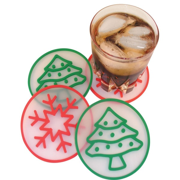 White, Red, Green Holiday Coasters