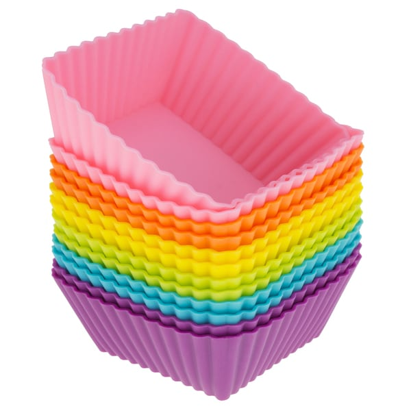 Freshware 12-Pack Square Reusable Silicone Baking Cup, Rainbow Colors, CB-306SC 16086608