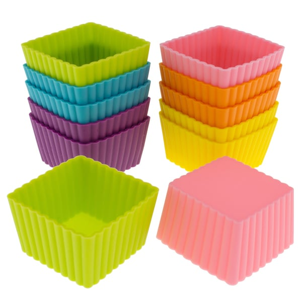 Freshware 12-pack Silicone Mini Square Reusable Cupcake and Muffin Baking Cup 16086617