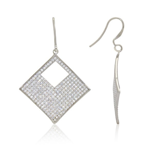 Gioelli Sterling Silver Square Cubic Zirconia Earrings