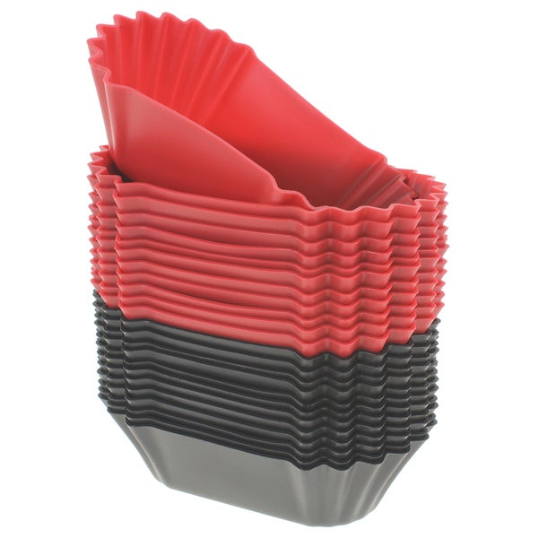 Freshware 24-pack Black and Red Silicone Jumbo Rectangle Round Reusable Cupcake and Muffin Baking Cup 16086678