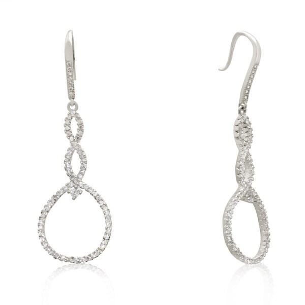 Gioelli Sterling Silver Cubic Zirconia Open Circle Dangle Earrings