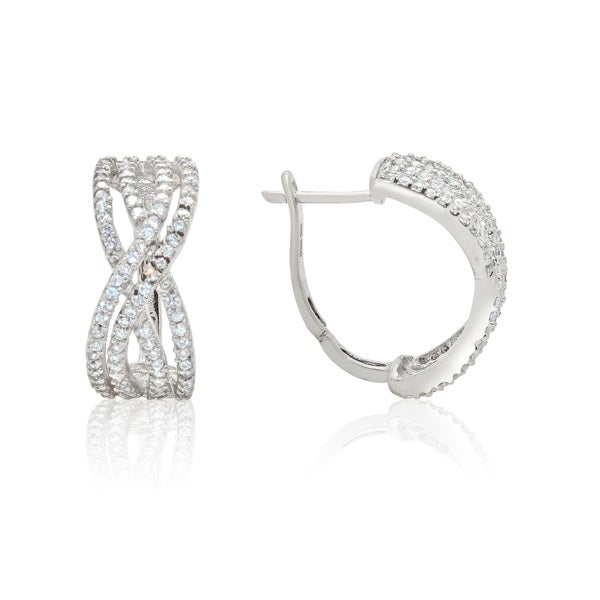 Gioelli Sterling Silver Cubic Zirconia Crossover Earrings