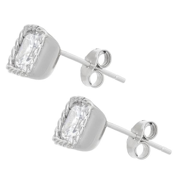 Gioelli Sterling Silver Cubic Zirconia Stud Earrings