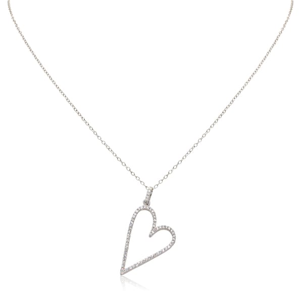 Gioelli 10k White Gold Heart Cubic Zirconia Pendant Necklace