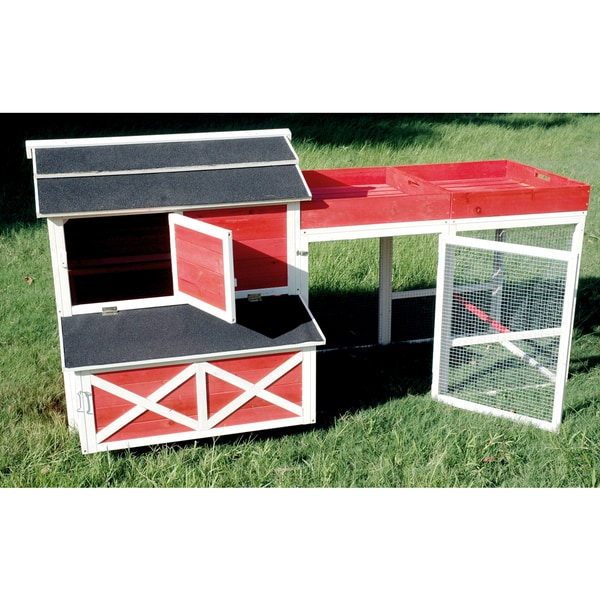 Merry Products Red Barn Chicken Coop with Roof Top Planter