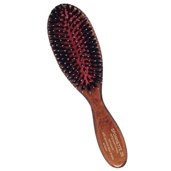 Spornette 25 Wood Handle Porcupine Brush with Genuine Boar Bristle