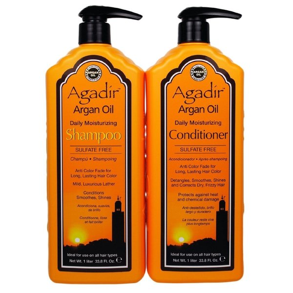 Agadir Argan Oil Daily Moisturizing 33.8-ounce Shampoo and Conditioner Liter Combo Set
