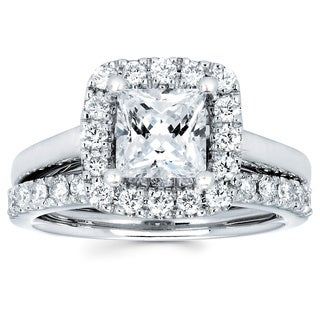 14k White Gold 1 3/4ct TDW Square Halo Diamond Bridal Ring Set (G-H, SI1-SI2)