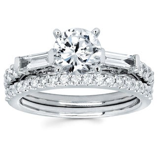 14k White Gold 1 3/4ct TDW Round and Baguette-cut Diamond Bridal Ring Set (G-H, SI1-SI2)