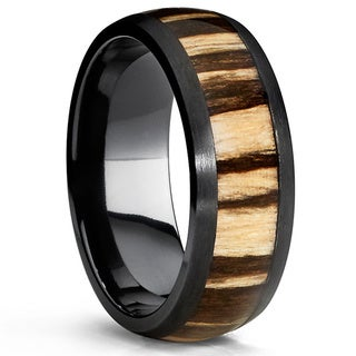 Oliveti Men's Dome Black Titanium Comfort-fit Ring with Real Zebra Wood Inlay