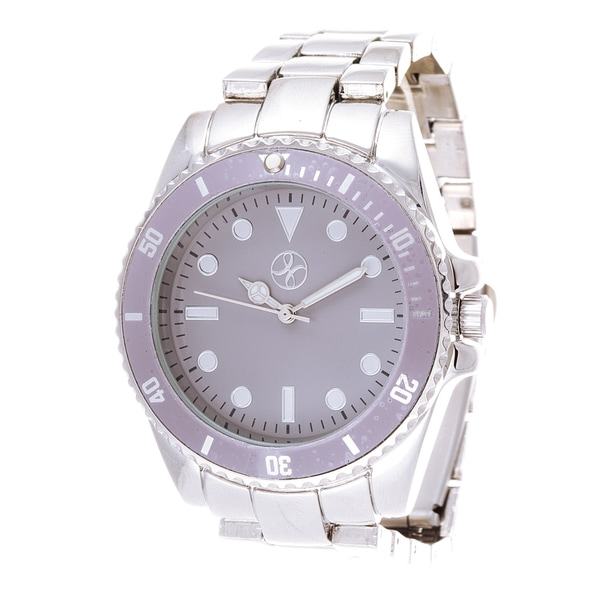 Fortune NYC Boyfriend Grey Case / Silver Strap Watch
