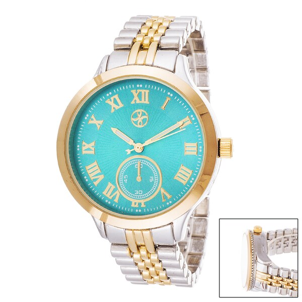Fortune NYC Boyfriend Turqouise Dial / Gold Case & Silver Strap Watch