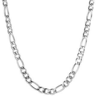Crucible Stainless Steel Polished Figaro Chain Necklace (6.9 mm)