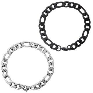 Men's Stainless Steel Brushed Finish Figaro Chain Bracelet