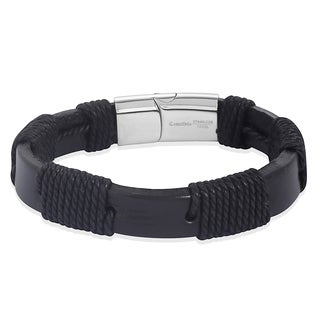 Crucible Blacktone with Woven Twine Leather Bracelet