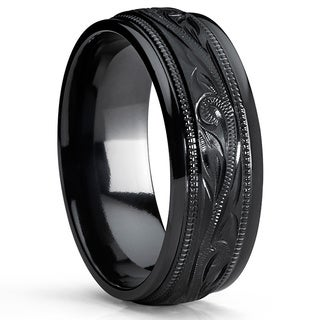 Oliveti Black Titanium Hand-engraved Floral Comfort-fit Wedding Band with Milgrain Edges
