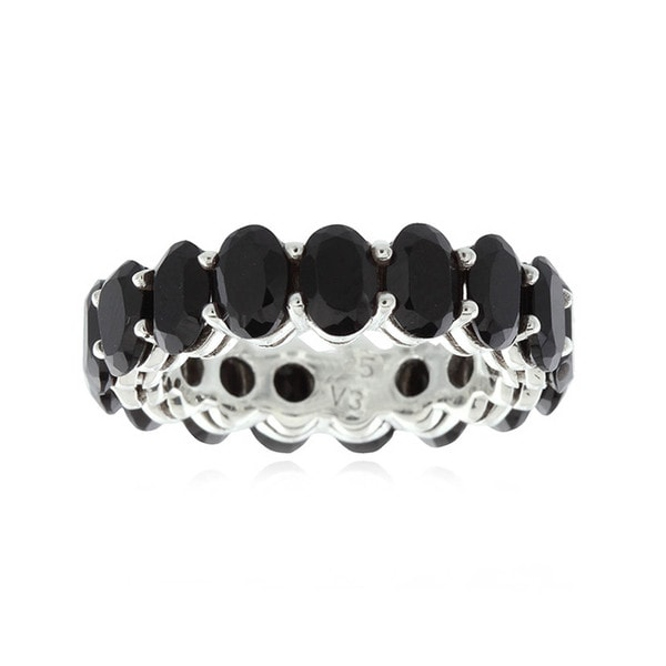 Sterling Silver 6x4 mm Oval Cut Black Spinel Eternity Ring