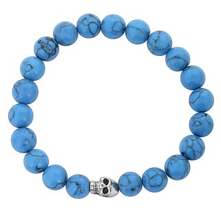 Men's Stainless Steel Skull and Dyed Turquoise Beaded Bracelet