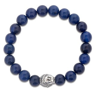Men's Stainless Steel Polished Buddha and Blue Agate Beaded Bracelet