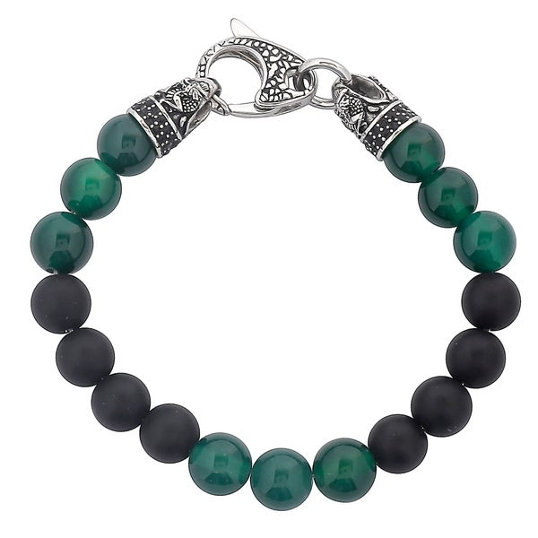 """Crucible Antiqued Stainless Steel Matte Onyx and Green Agate Beaded Bracelet (10mm) - 8.5"""" 16087120"""