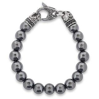 Crucible Stainless Steel Dragon with Polished Hematite Onyx Beaded Bracelet