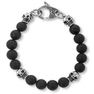 Crucible Matte Black Onyx Skull and Beaded Bracelet