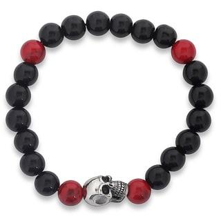 Men's Stainless Steel Skull and Stretch Beaded Bracelet