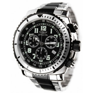 Invicta Swiss Chronograph Men's Two Tone Black Dial Stainless Steel Tachymeter Watch