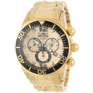 Invicta Men's Large Lupah Chronograph Gold Dial Stainless Steel Date Watch