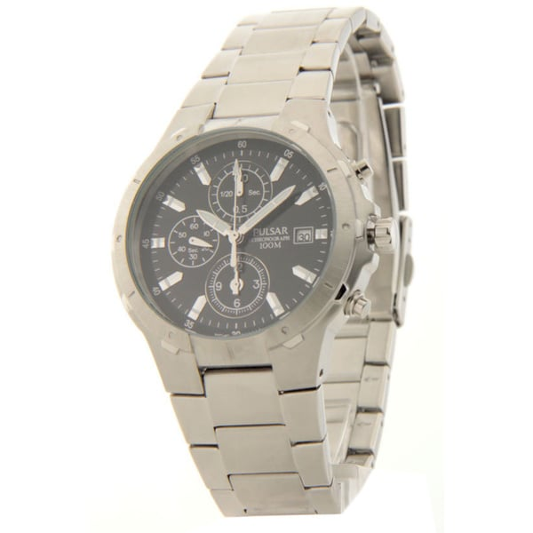 Mens Pulsar Stainless Steel Chronograph Date 10atm Casual Watch