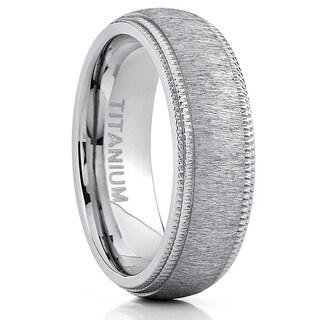 Oliveti Men's Titanium Hairline Ground Brushed Finish Dome Comfort-fit Wedding Band