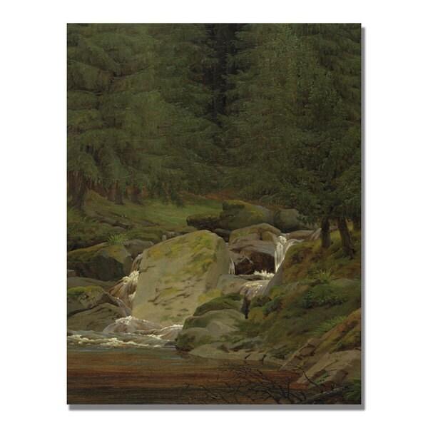 Caspar Friedrich 'Evergreens by the Waterfall' Canvas Art