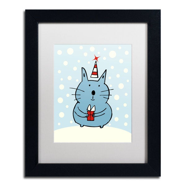 Carla Martell 'Christmas Snow Cat' White Matte, Black Framed Wall Art