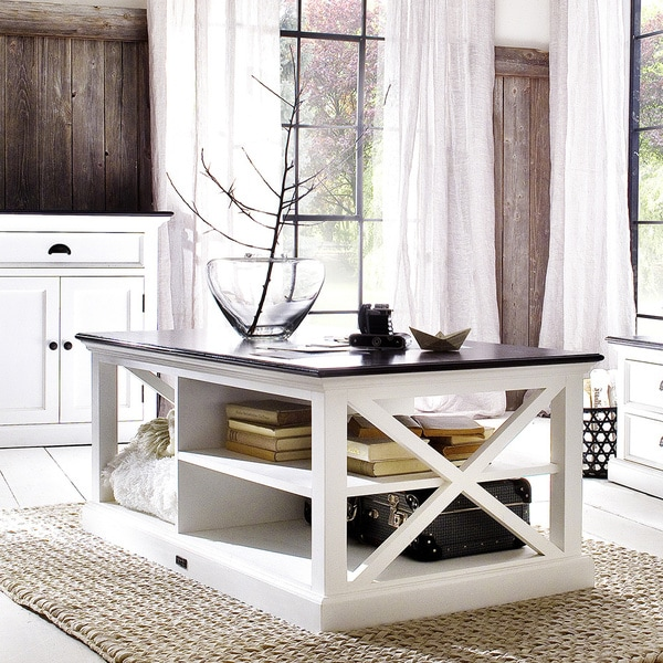Interior White Distressed Mahogany Coffee Table with Black Top